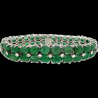 Waslikoff Platinum Cabochon Emerald & Diamond Bracelet