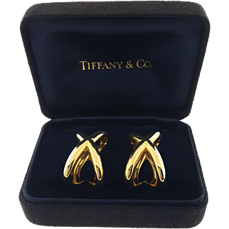 Vintage Tiffany & Co 18k Yellow Gold X Crossover Clip On Earrings