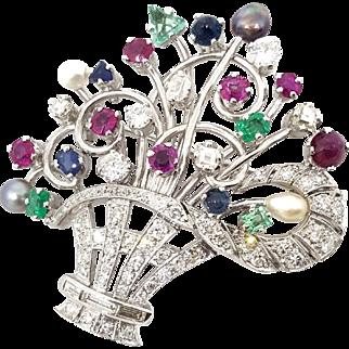 Platinum Vintage Flower Basket with Diamonds, Colored Stones & Pearls