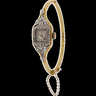 Vintage CHASE Diamond Watch Bangle Bracelet in Platinum & 14k Yellow Gold