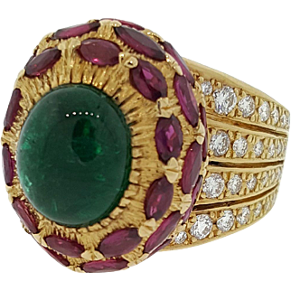 Vintage Emerald Cabochon, Ruby & Diamond High Dome Cocktail Ring in 18K