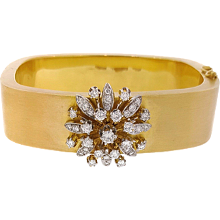 Vintage Wide Bangle with Diamond Floret in 14K Yellow Gold