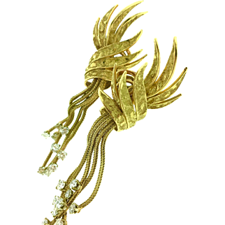 French Vintage Diamond Tassel Earrings in textured 18K Yellow Gold