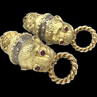 18k Chimera Lion Head Earrings with Diamonds and Rubies
