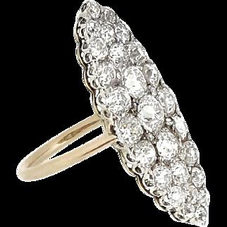 Antique Navette Diamond Ring in Platinum/14k TW 3.50 ct
