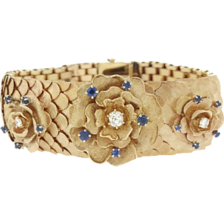 14K Rose Gold Scale Bracelet Diamond Sapphire Rose Florets