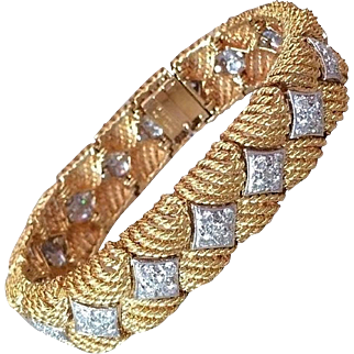 Vintage Heavy Textured Link Diamond Bracelet by Ruser in 18K Yellow Gold and Platinum