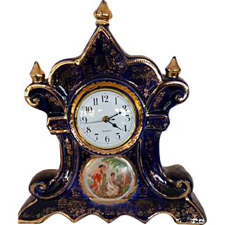 Royal Warwick Mantle Clock-Cobalt and Gold