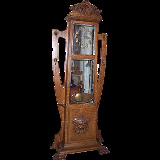 Fantastic American Quarter Sawn Oak Grandfather Clock/ Hall Tree