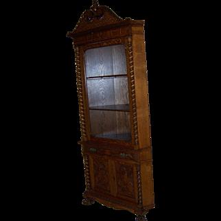 Magnificent American Quarter Sawn Oak Corner Cabinet