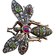 Antique Green Garnet and Ruby Insect Brooch in 18K gold
