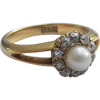 Antique Natural Pearl Ring in 18K and Diamond Mount