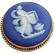Blue Wedgwood and 9ct Gold Cameo Brooch