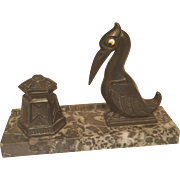 French inkwell desktop Art Deco  PELICAN ON grey MARBLE BASE