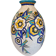 A Boch Freres Keramis vase designed by Charles Catteau, pattern D.1174, enamelled with geometric flowers