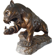 TERRACOTTA Sculpture Panther with patina BY A. FAGOTTO.  1920s