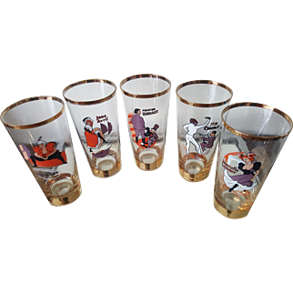 vintage Paris cabaret moulin rouge cordial six glass set 1920s