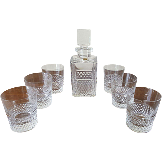 Val St. Lambert Diamond Cut Chrystal Decanter Set