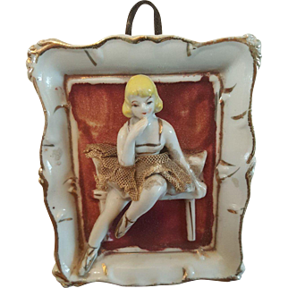 Japan porcelain Ballerina Wall plaque Mid-Century
