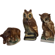 Old Porcelain owls and bear Perfume lamps 1920s