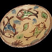 Antique Medieval Islamic Persian Nishapur Ceramic fish Bowl 800 AD