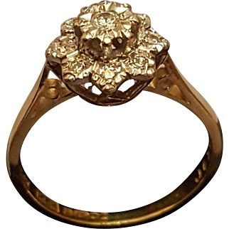 A Vintage Solid 18 karat Gold Diamond Cluster Ring