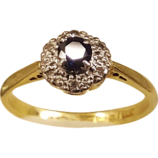 Vintage solid 18ct yellow gold ,sapphire and diamond platinum ring