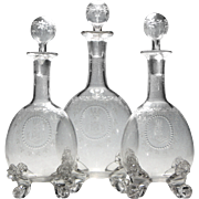 Rare Webb Crystal Neo-Classical Decanter Set With Lion Masks c1870