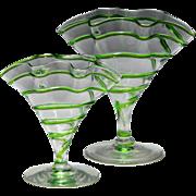 Two Stuart Art Nouveau Green Trailed Fazoletto Vases c1910