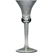 18th Century Incised Twist Wine Glass c1755