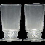 Pair Signed Rene Lalique Dampierre Glasses