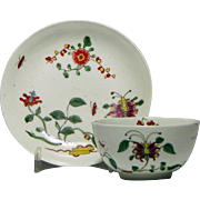 First Period Worcester Honeysuckle Pattern Tea Bowl & Saucer c1760