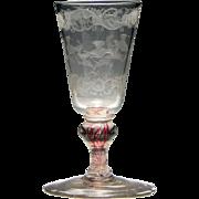 Engraved Bohemian Colour Twist Goblet c1720