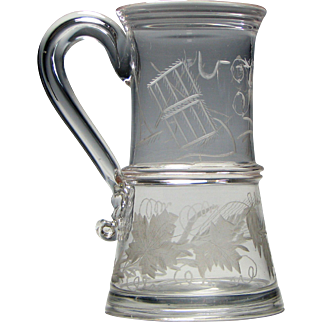 18th Century Tankard Engraved With Agricultural Tools c1790