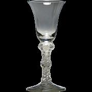 Triple Knopped Georgian Opaque Twist Wine Glass c1760