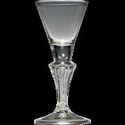 18th Century Pedestal Stem Wine Glass c1745