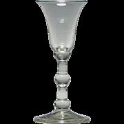 18th Century Three Knop Balustroid Wine Glass c1740