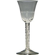 Georgian Double Series Air Twist Wine Glass with Rib Moulded Bowl c1750