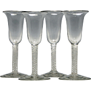 Set of Four 19th Century Opaque Twist Wine Glasses