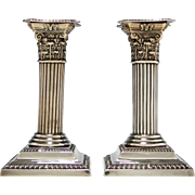 Pair of Victorian Corinthian Silver Candle Sticks 1901