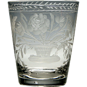 Georgian Tumbler Engraved With Farming Implements c1780