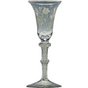 Engraved 18th Century Double Knop Opaque Twist Wine Glass c1760