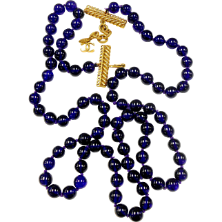 Signed Chanel Cobalt Blue Glass Hand Knotted Rope Necklace c. 1980