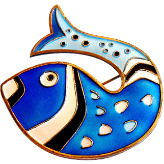 Signed David Andersen Norway Blue Enamel Fish Brooch c. 1960