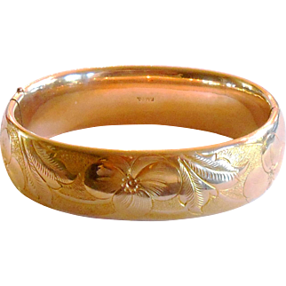 Signed FMCO Gold Filled Victorian Bangle w/ Beautiful Floral Motif circa 1900
