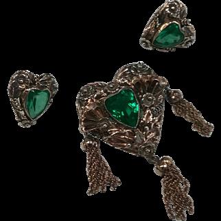 Signed Sterling Hobe Heart Set w/ Green Stones c. 1940