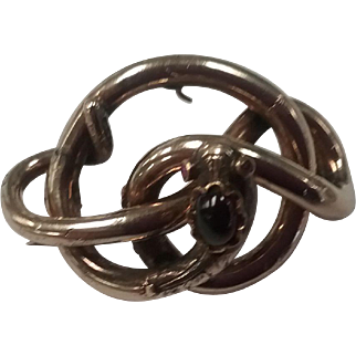 Vintage 14k gold pin snake with garnet eyes and cabochon garnet