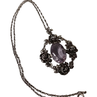 German silver light amethyst floral necklace