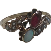 Vintage antique 10kt opal ruby and see pearls ring