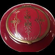 Vintage Red Bakelite Compact Beautiful golden tone motif design inlay